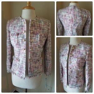 Tahari ASL Cream Magenta Tweed Blazer Jacket